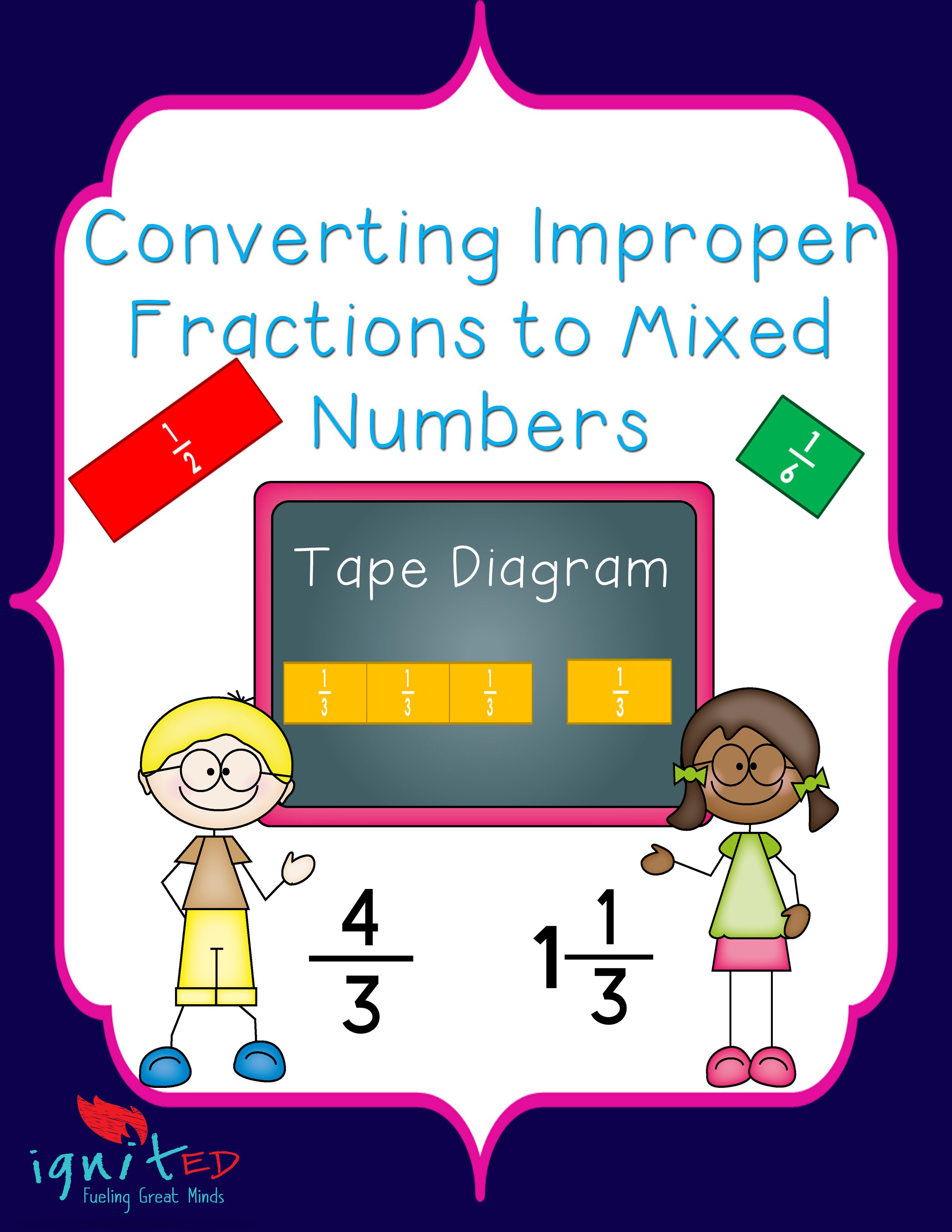 Worksheet Mixed Numbers tape diagramconverting improper fractions to mixed numbers ignited numbers