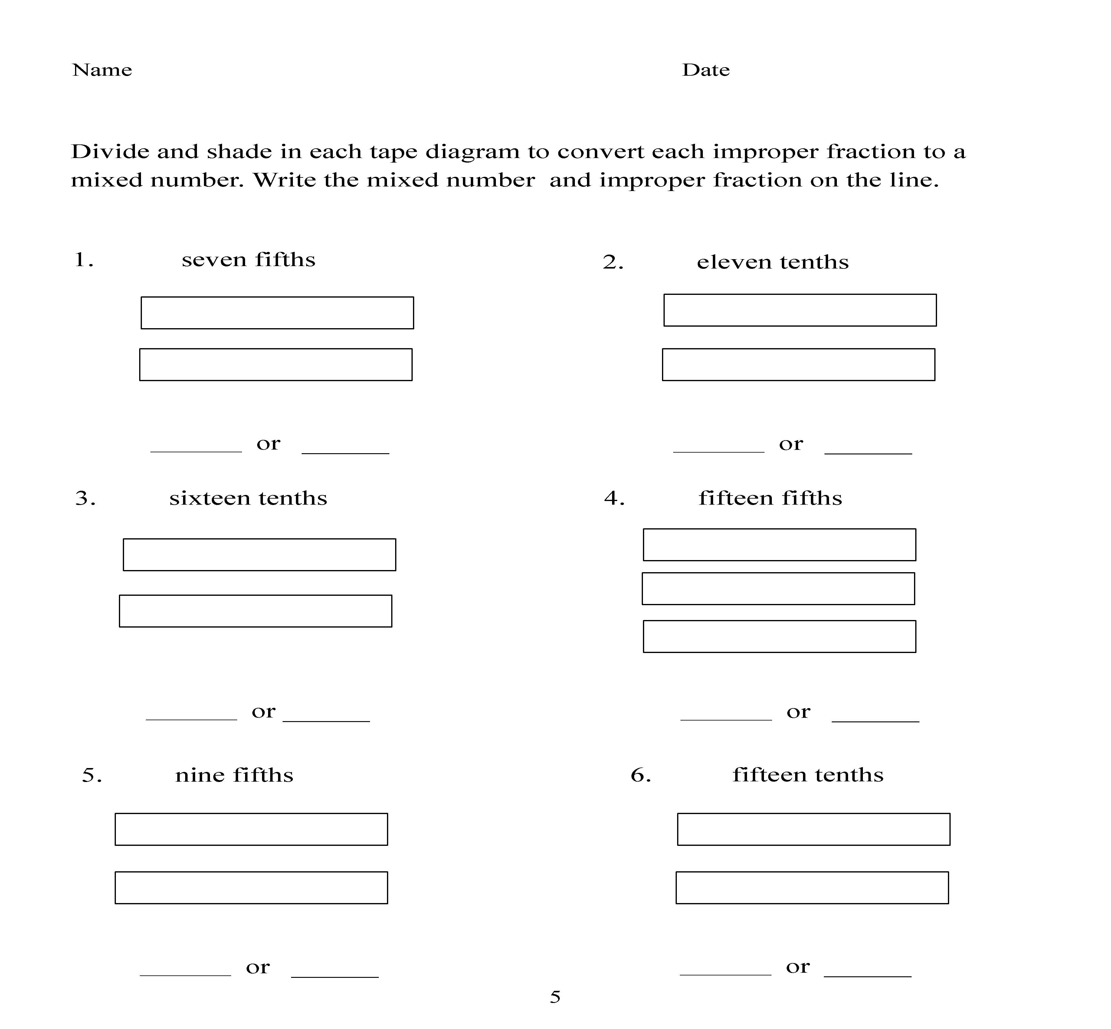 homework help mixed fractions – Convert Mixed Numbers to Improper Fractions Worksheet