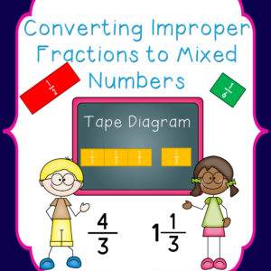 converting improper fractions to mixed numbers tape diagram