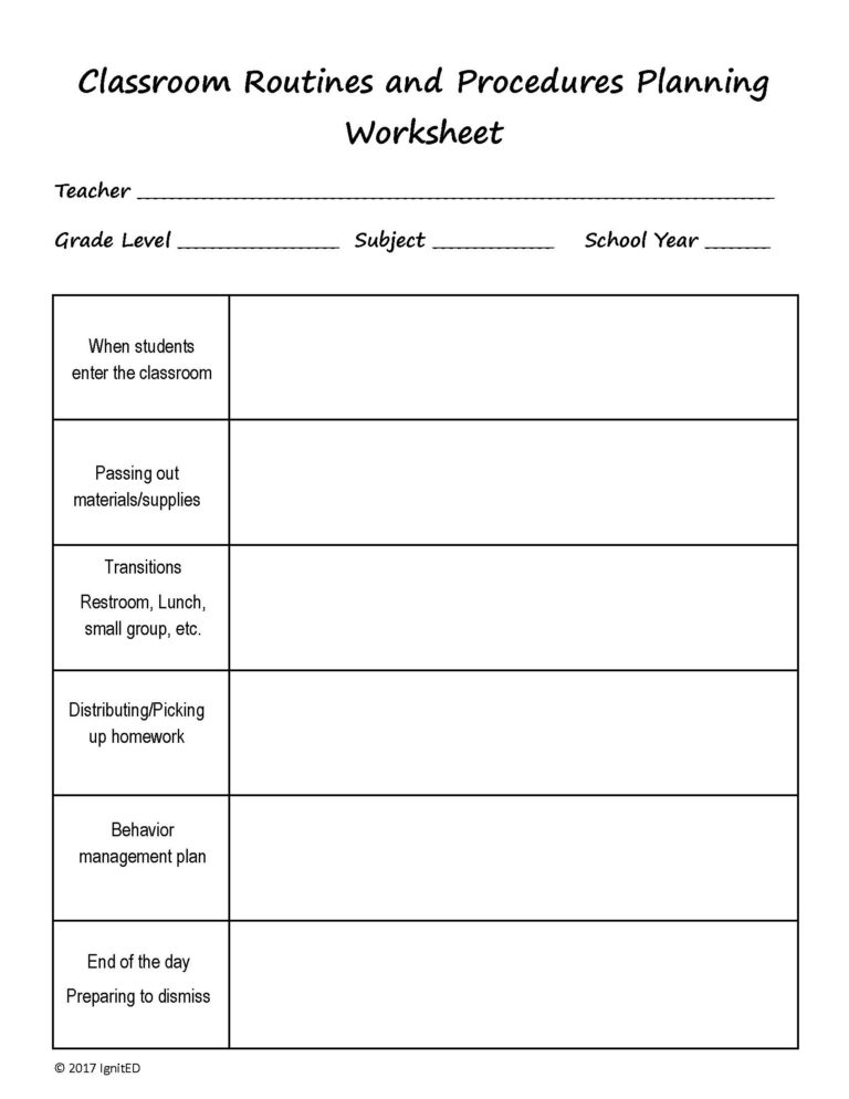 classroom routines and procedures worksheet ignited. Black Bedroom Furniture Sets. Home Design Ideas