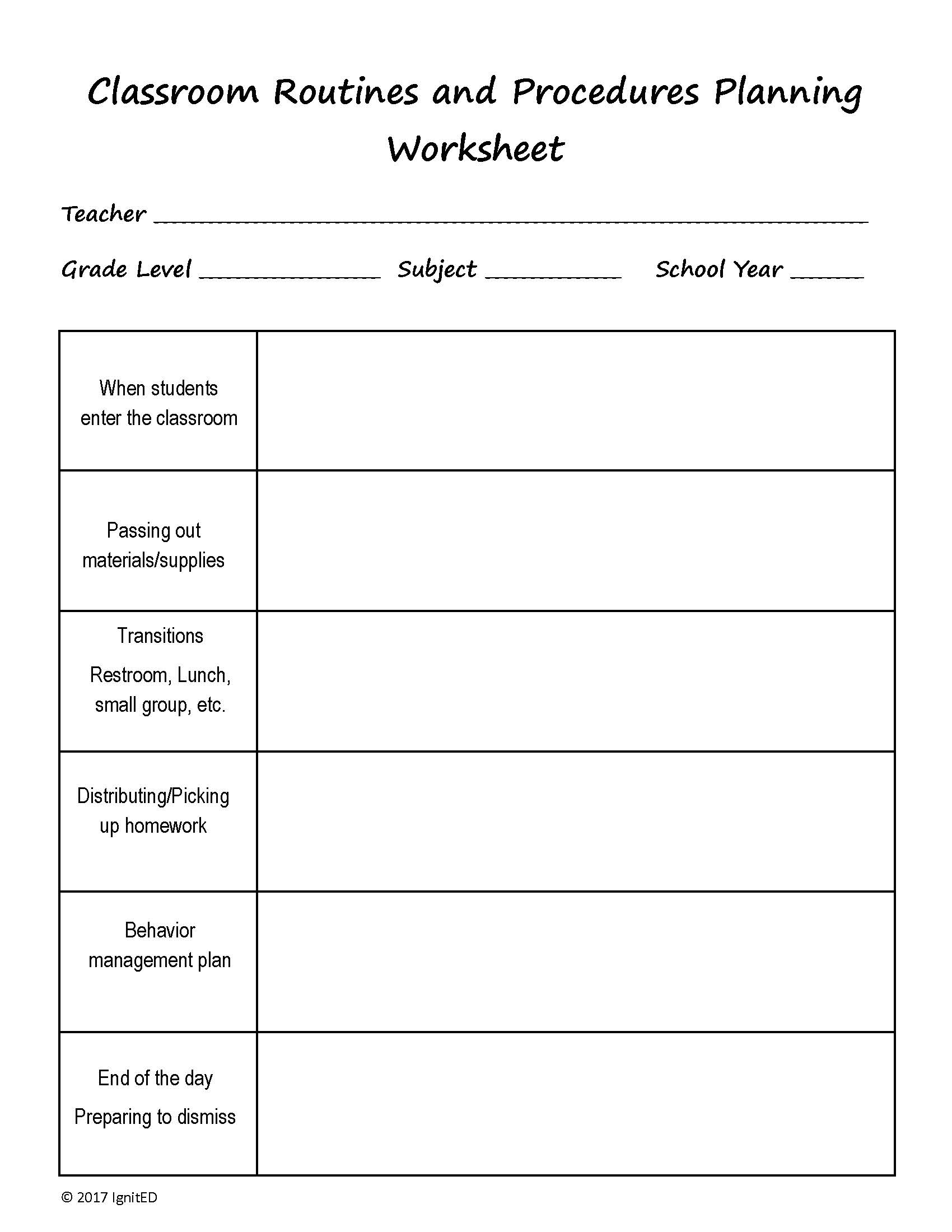 worksheet End Behavior Worksheet classroom routines and procedures worksheet ignited